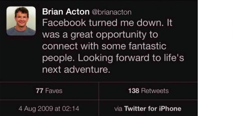 Twet Brian Acton, Pendiri Whatsapp
