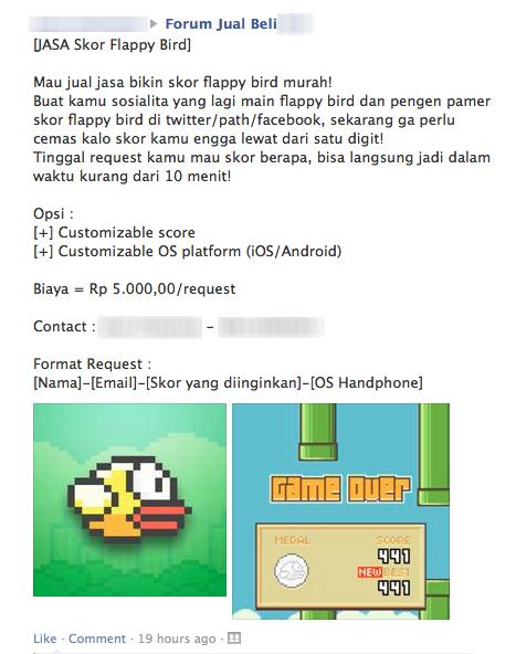 Unik, Jasa Membuat Skor Flappy Bird