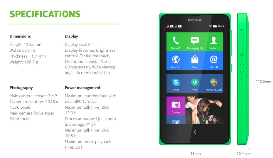 Spesifikasi Nokia X dari Nokia.com