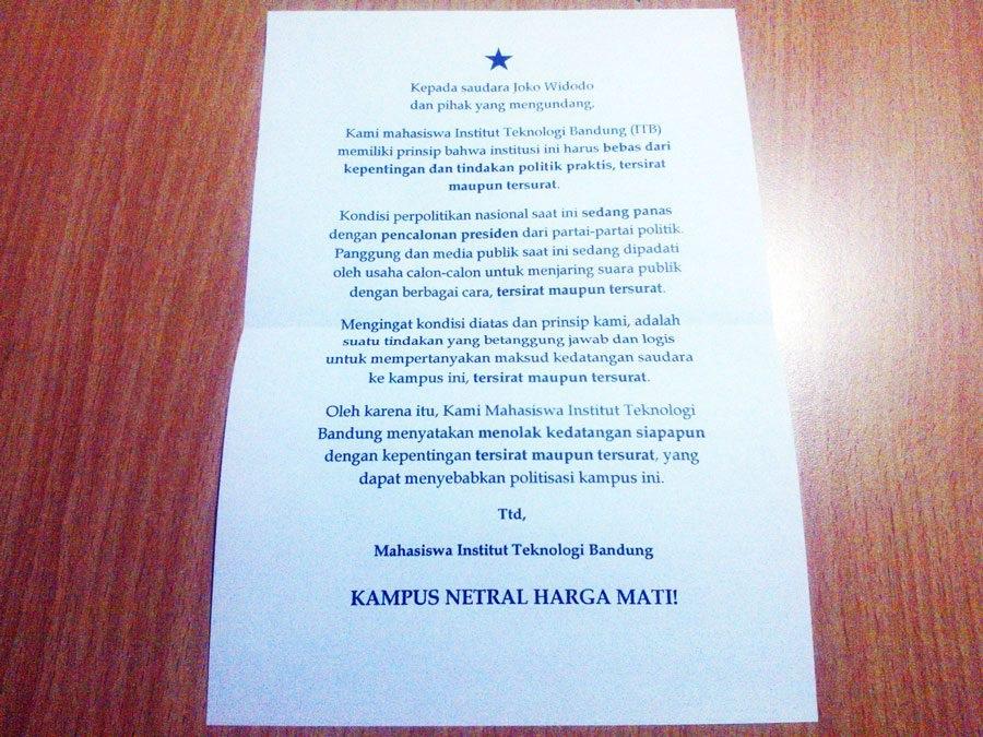 Surat edaran dari KM ITB menyikapi kedatangan Jokowi