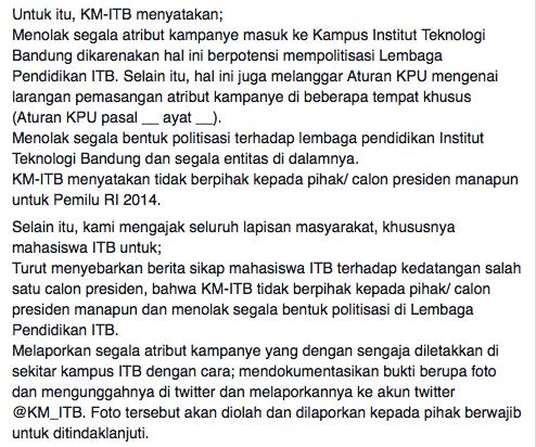 Edaran dari kabinet KM ITB