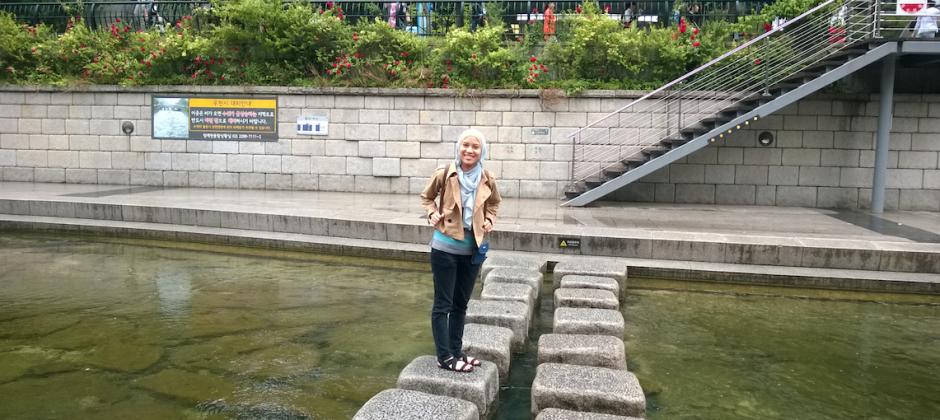 Batu-batuan di tengah Cheonggye Stream