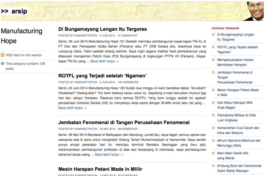 Tulisan-tulisan Dahlan Iskan di blog
