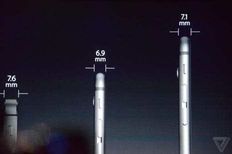 Perbandingan Ketebalan iPhone 5S, iPhone 6, dan iPhone 6 plus. sumber: theverge