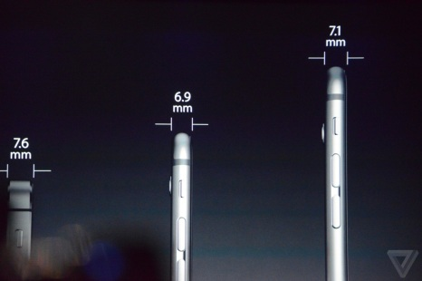 Perbandingan Ketebalan iPhone 5S, iPhone 6, dan iPhone 6 plus. sumber: theverge