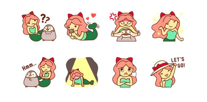 Stiker Mima the Mermaid di LINE