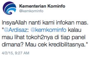 Jawaban dari Twitter Resmi Kominfo