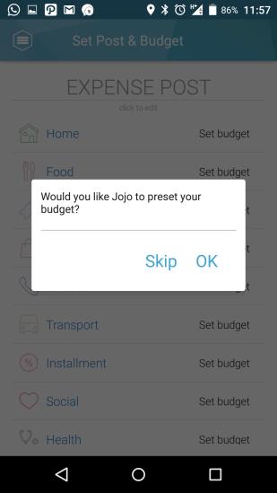 Jojonomic - setup budget